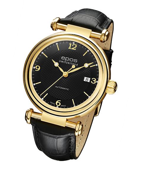 エポス オリジナーレ デイト 3430YGA4BK 腕時計 メンズ 自動巻 epos クロノグラフ ゴールド レザーストラップ