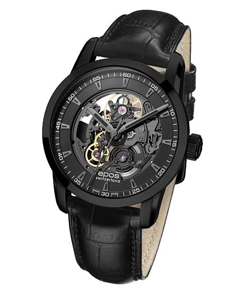 エポス ソフィスティック スケルトン 3423BSKBK 腕時計 メンズ 自動巻 epos スケルトン レザーストラップ