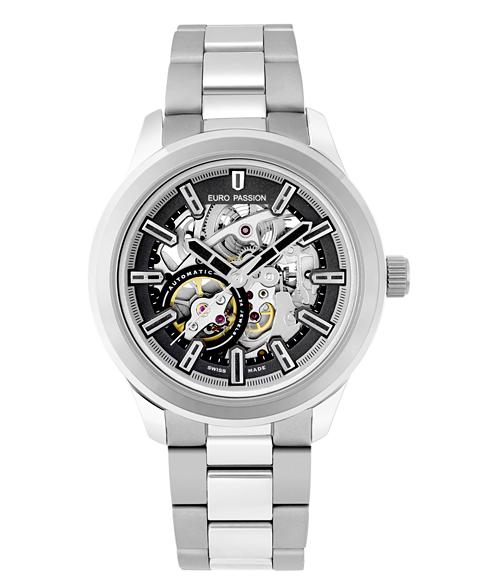 アウトレット 45%OFF! ユーロパッションウォッチ ラウンド・スケルトンSS EP199-20 自動巻 腕時計 メンズ EURO PASSION WATCH Round Skeleton スケルトン メタルブレス