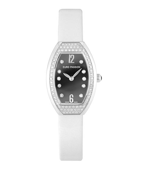 アウトレット 67%OFF! ユーロパッションウォッチ トノー・ハーフパヴェ 923BA-SWH 腕時計 レディース EURO PASSION WATCH Tonneau Half Pave ホワイト系