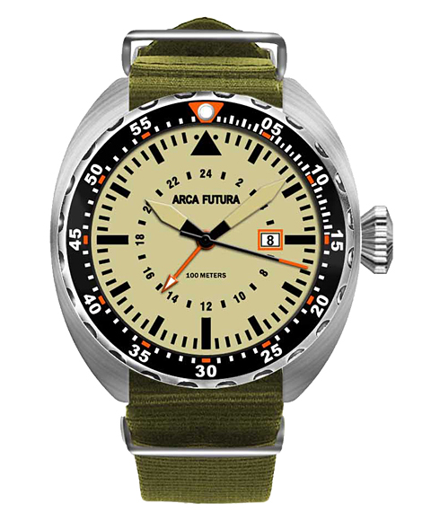 アウトレット アルカフトゥーラ 3750IV1 腕時計 メンズ ARCAFUTURA ダイバーズ クロノグラフ オリーブ系