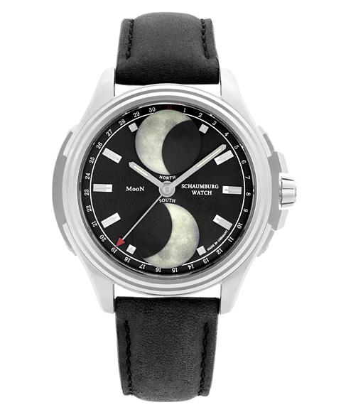 海外取寄せ(納期2-3ヶ月程度):シャウボーグ アーバニック ダブルムーン URBANIC-DMOONBK 腕時計 メンズ SCHAUMBURG URBANIC DOUBLE MOON 自動巻 レザーストラップ