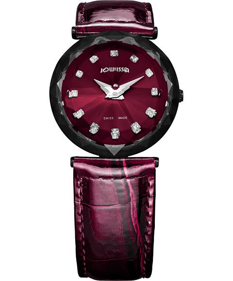 アウトレット 半額 ジョウィサ J1シリーズ サファイア 1.256.M 腕時計 レディース JOWISSA Magic Sapphire レザーストラップ ワインレッド系