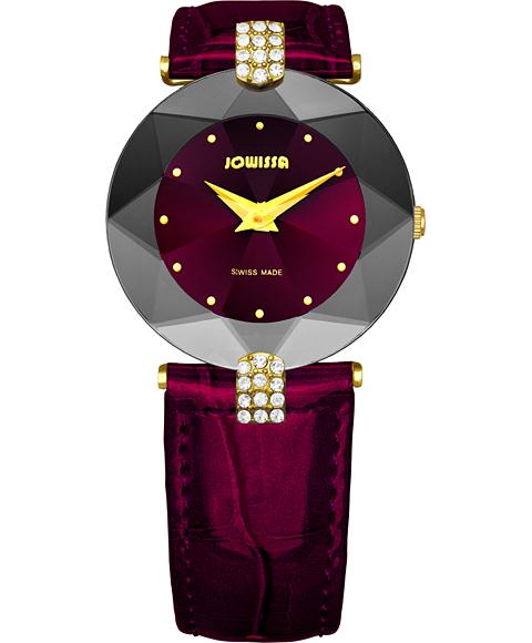 ジョウィサ J5シリーズ 5.013.M 腕時計 レディース JOWISSA ゴールド レザーストラップ ワインレッド系