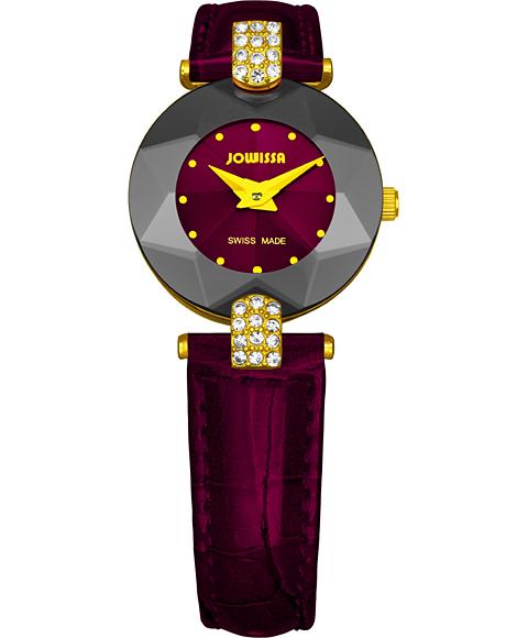 ジョウィサ J5シリーズ 5.013.S 腕時計 レディース JOWISSA ゴールド レザーストラップ ワインレッド系
