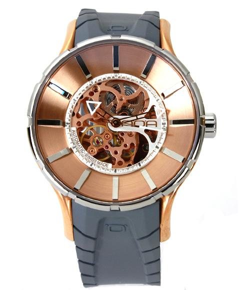 ワケあり アウトレット 67%OFF! ノア 16.75 SKLTT001 自動巻き 腕時計 メンズ NOA 自動巻 スケルトン ゴールド ※入荷時期によってストラップはラバーまたはレザーとなります。