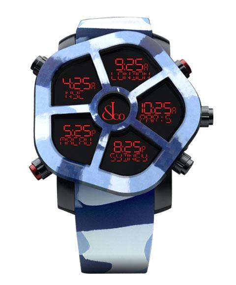 ジェイコブ ゴースト JC-GST-CAMOBL カモフラージュカラーブルー 腕時計 メンズ JACOB&CO GHOST デジタル 5time zone ブルー系