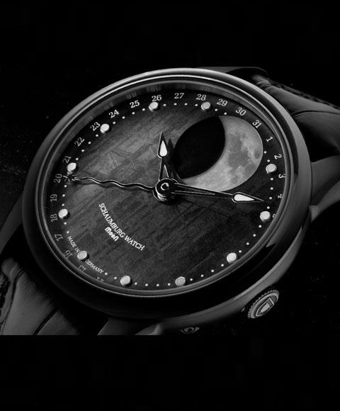シャウボーグ グランド パーペチュアルムーン メテオライト MOON-METEORITE-PVD 腕時計 メンズ SCHAUMBURG GRAND PERPETUAL 自動巻 レザーストラップ