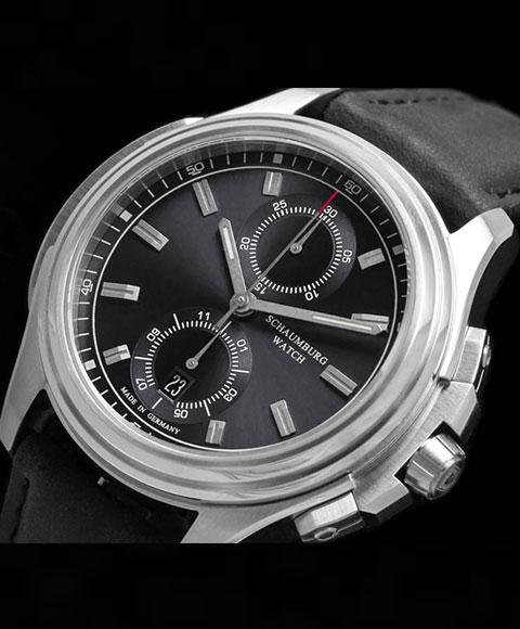 シャウボーグ アーバニッククロノグラフ URBANIC CHRONOGRAPH2 (BKブラックダイヤル) 腕時計 メンズ SCHAUMBURG 自動巻 レザーストラップ