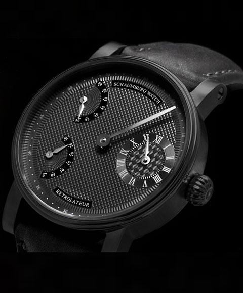 シャウボーグ レトロレーター16ブラックエディション RETROLATEUR16-BK 手巻き 腕時計 メンズ SCHAUMBURG BLACK EDITION レザーストラップ