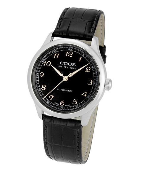 アウトレット 半額 エポス クラシックコレクション イボケーション 3285ABK 腕時計 メンズ 自動巻 epos レザーストラップ