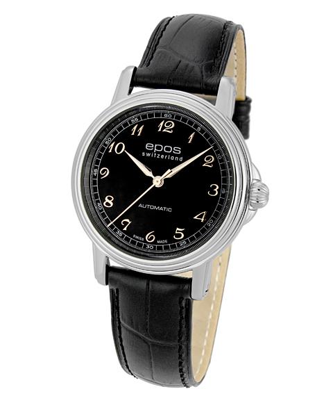アウトレット 半額 エポス クラシックコレクション イボケーション 3336ABK 腕時計 メンズ 自動巻 epos レザーストラップ