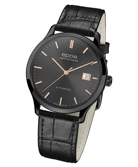エポス オリジナーレ デイト ブラック 3420BKGYGD 腕時計 メンズ 自動巻 epos レザーストラップ