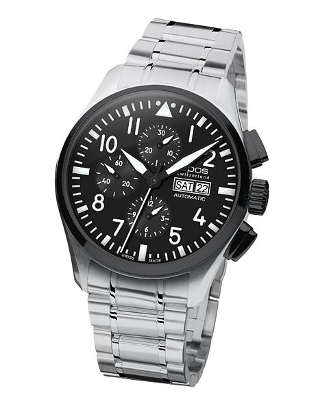 海外取り寄せ(納期:お問合せください) エポス スポーティブ パイロット クロノグラフ 3433SBKABKM 腕時計 メンズ 自動巻 epos 自動巻 メタルブレス