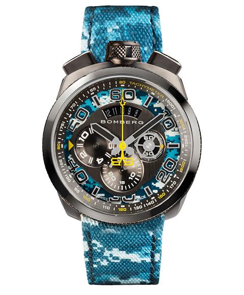 アウトレット ボンバーグ BOLT-68 カモフラージュ リミテッドエディション BS45CHPGM.035.3 クォーツ クロノグラフ 腕時計 メンズ BOMBERG CAMO LIMITED EDITION 限定モデル ブルー系