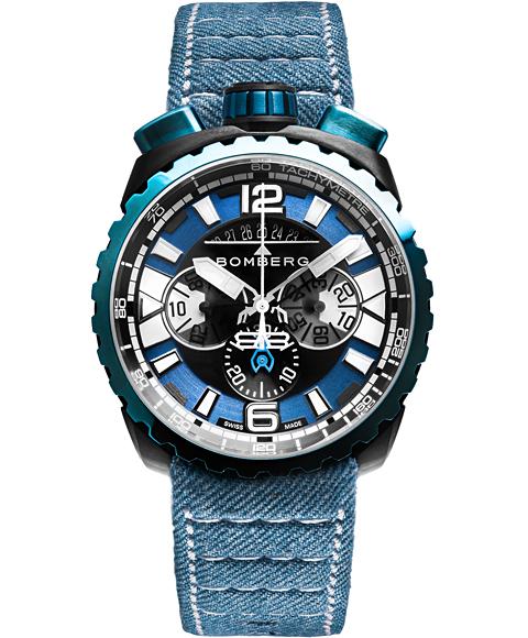 アウトレット ボンバーグ BOLT-68 ガン&スカイブルー BS45CHPBLGM.050-3.3 クォーツ クロノグラフ 腕時計 メンズ BOMBERG GUN&SKY BLUE ブルー系