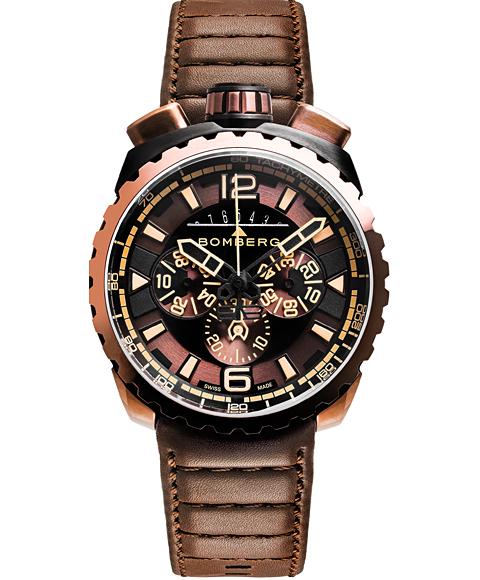 アウトレット ボンバーグ BOLT-68 BS45CHPBRBA.050-2.3 クォーツ クロノグラフ 腕時計 メンズ BOMBERG レザーストラップ ブラウン系
