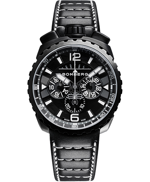 Outlet Sale 豪華な 高品質 アウトレット ボンバーグ BOLT-68 BS45CHPBA.050-6.3 クロノグラフ 腕時計 レザーストラップ クォーツ メンズ BOMBERG