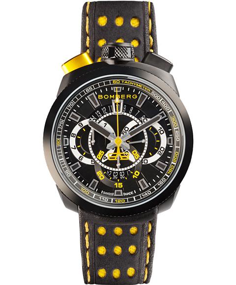 アウトレット ボンバーグ BOLT-68 BS45CHPBA.015.3 クォーツ クロノグラフ 腕時計 メンズ BOMBERG レザーストラップ