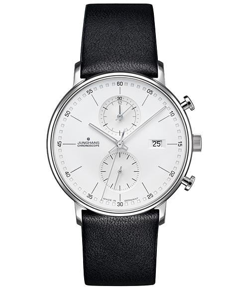 特価品 ユンハンス フォーム C 041 4770 00 腕時計 クロノスコープ メンズ JUNGHANS FORM C 041/4770.00 レザーストラップ