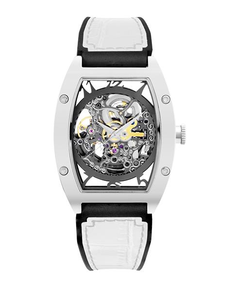 アルカフトゥーラ 978EWH メカニカルスケルトン トノー 自動巻き 腕時計 メンズ ARCAFUTURA スケルトン レザーストラップ ホワイト系