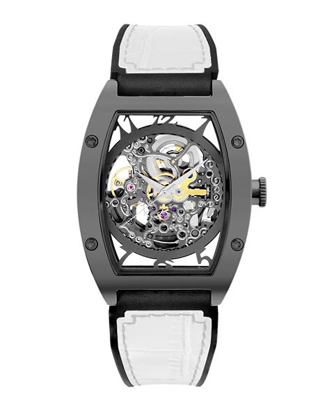 アルカフトゥーラ 978GWH メカニカルスケルトン トノー 自動巻き 腕時計 メンズ ARCAFUTURA スケルトン レザーストラップ ホワイト系