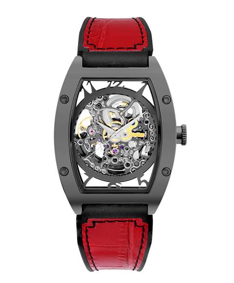 アルカフトゥーラ 978GRD メカニカルスケルトン トノー 自動巻き 腕時計 メンズ ARCAFUTURA スケルトン レザーストラップ レッド系