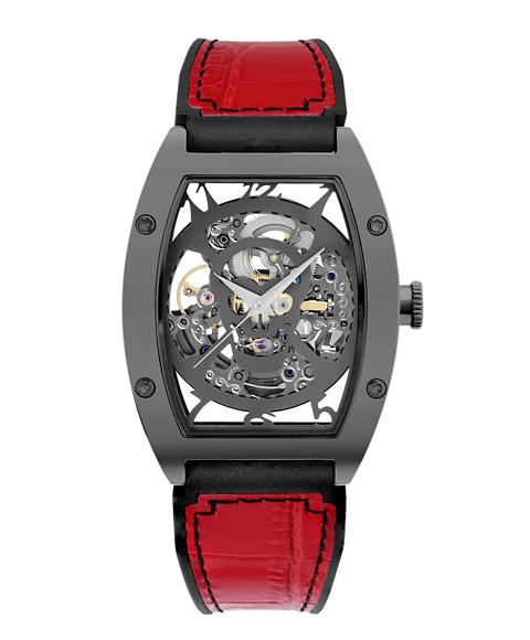 アルカフトゥーラ 978HRD メカニカルスケルトン トノー 自動巻き 腕時計 メンズ ARCAFUTURA レザーストラップ レッド系
