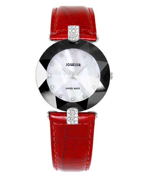 ジョウィサ 5.591.M 腕時計 レディース JOWISSA クロノグラフ レザーストラップ レッド系