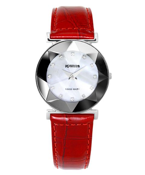 ジョウィサ 5.594.M 腕時計 レディース JOWISSA クロノグラフ レザーストラップ レッド系