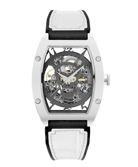 アルカフトゥーラ 978FWH メカニカルスケルトン トノー 自動巻き 腕時計 メンズ ARCAFUTURA レザーストラップ ホワイト系