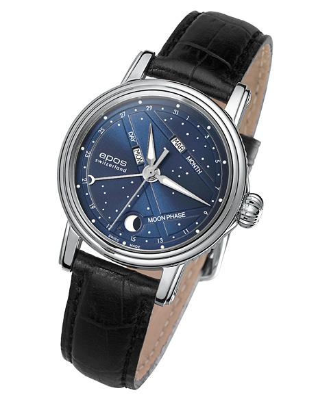 エポス ナイトスカイ 4391NSBL (ブラックストラップ) 腕時計 レディース 自動巻 epos BLUE SKY レザーストラップ ブルー系