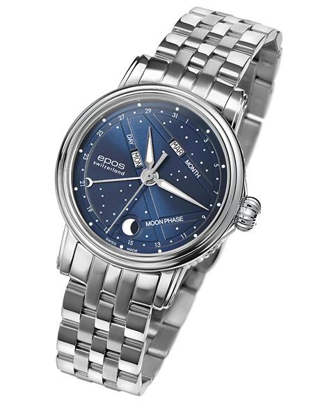 エポス ナイトスカイ 4391NSBLM 腕時計 レディース 自動巻 epos BLUE SKY メタルブレス ブルー系