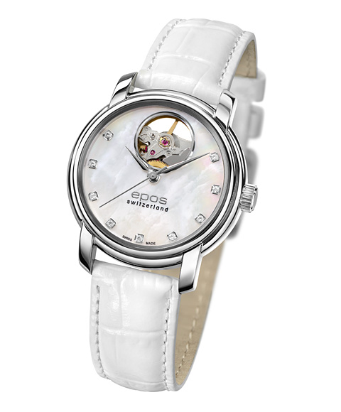 エポス オープンハート ダイヤモンド 4314OHPLWH 腕時計 レディース 自動巻 epos MOP Open Heart Diamonds レザーストラップ ホワイト系