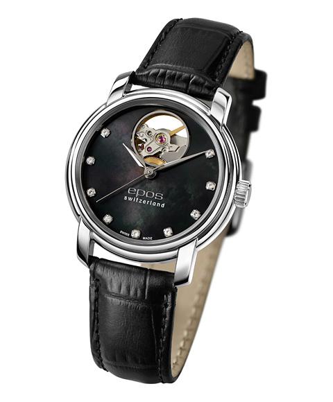 エポス オープンハート ダイヤモンド 4314OHPLBK 腕時計 レディース 自動巻 epos MOP Open Heart Diamonds レザーストラップ