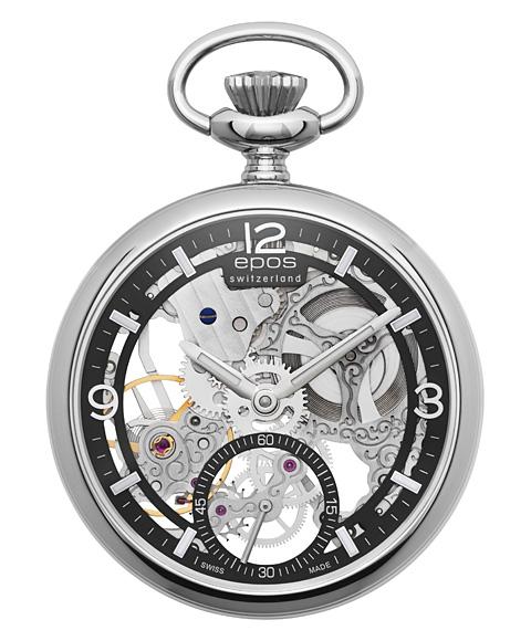 エポス スモール モダン スケルトン ポケットウォッチ 2003ABK 懐中時計 メンズ epos Small Modern Skeleton Pocket Watch