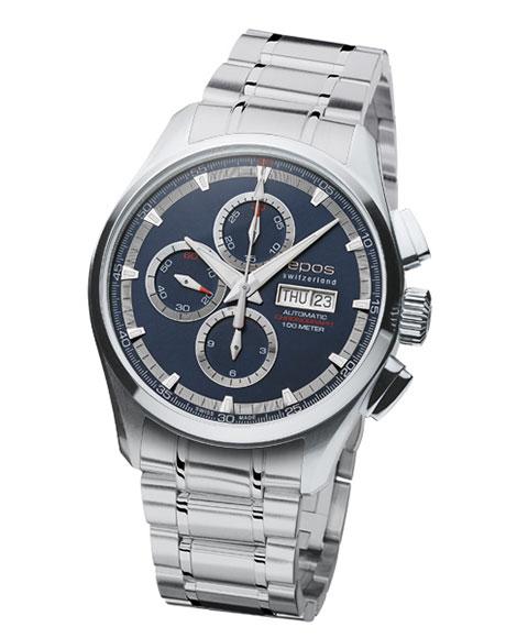 エポス スポーティブ クロノグラフ 3433BLM 腕時計 メンズ 自動巻 epos Sportive Chronograph 自動巻 メタルブレス ブルー系