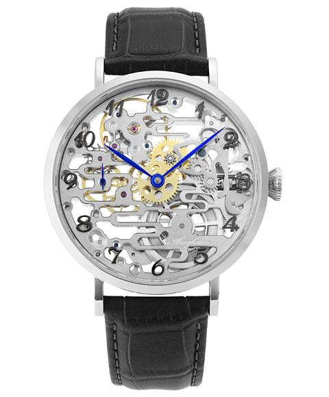 アルカフトゥーラ メカニカルスケルトン 8322BK 手巻 腕時計 メンズ ARCAFUTURA レザーストラップ