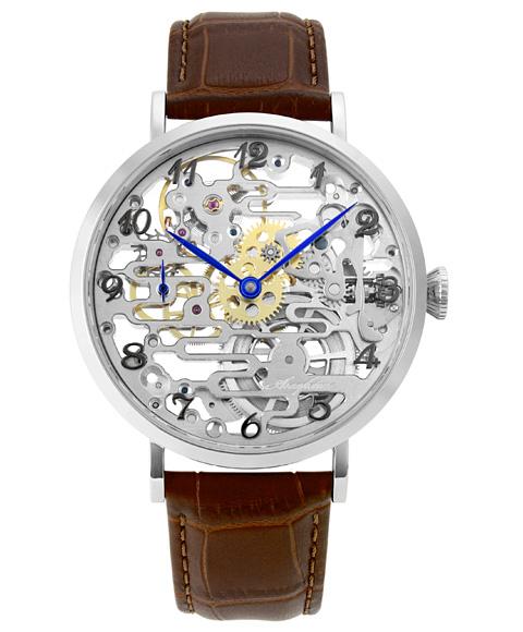 アルカフトゥーラ メカニカルスケルトン 8322BR 手巻 腕時計 メンズ ARCAFUTURA レザーストラップ ブラウン系