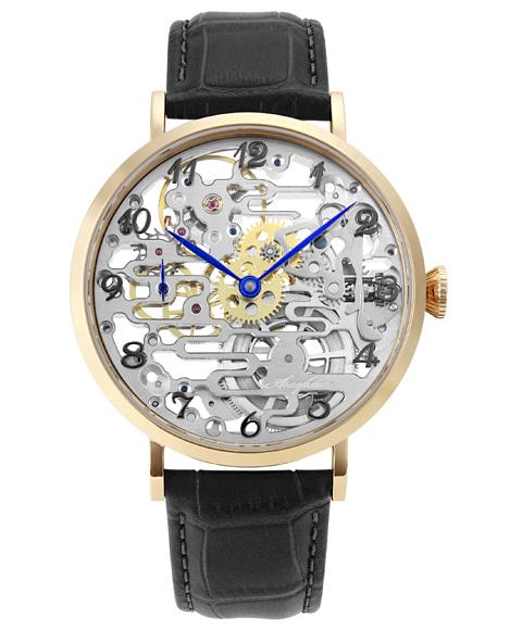 アルカフトゥーラ メカニカルスケルトン 8322RGBK 手巻 腕時計 メンズ ARCAFUTURA ゴールド レザーストラップ