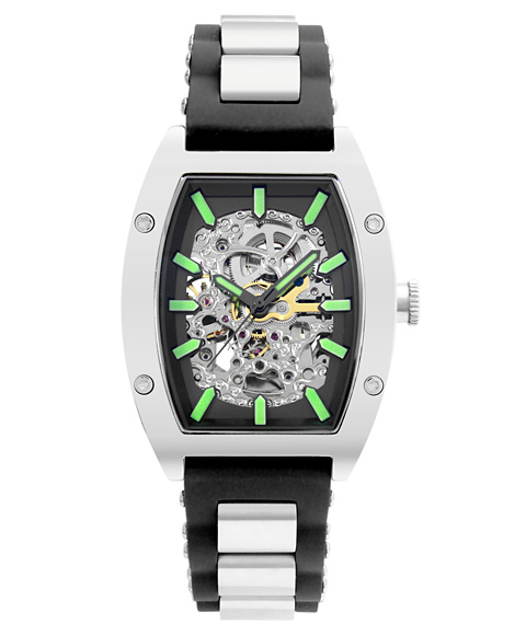 Outlet Sale 特価 安心と信頼 高級品 アルカフトゥーラ 978LE メカニカルスケルトン ARCAFUTURA 腕時計 メンズ トノー 自動巻き メタルブレス