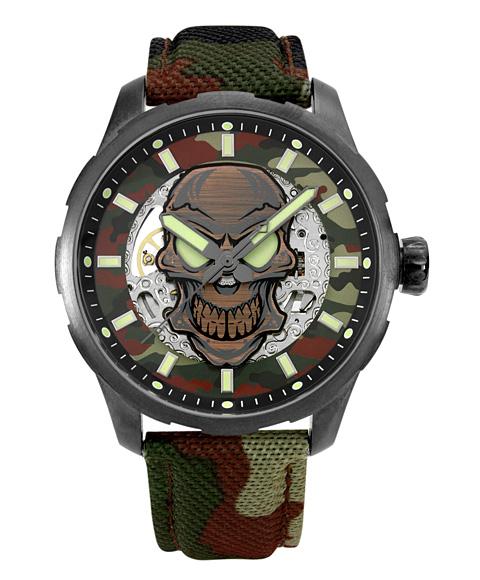 アウトレット 65%OFF! アルカフトゥーラ メカニカルスケルトン 8618SSG-BR 自動巻 腕時計 メンズ つや消しモデルのケース アンティーク加工 ARCAFUTURA クロノグラフ ブラウン系