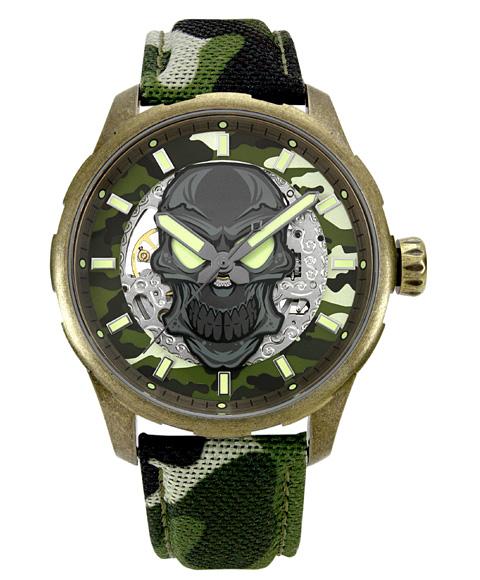アウトレット 65%OFF! アルカフトゥーラ メカニカルスケルトン 8618SSV-GR 自動巻 腕時計 メンズ つや消しモデルのケース アンティーク加工 ARCAFUTURA