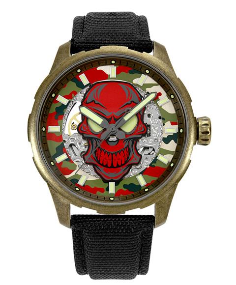 アウトレット 65%OFF! アルカフトゥーラ メカニカルスケルトン 8618SSV-RD 自動巻 腕時計 メンズ つや消しモデルのケース アンティーク加工 ARCAFUTURA クロノグラフ レッド系