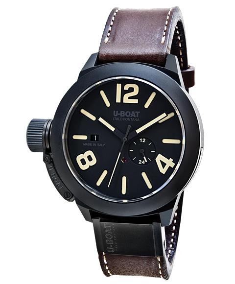 ユーボート クラシコ 48 BK セラマットケース 8107 腕時計 メンズ U-BOAT CLASSICO 48 BK CER MATT CASE 自動巻 レザーストラップ ブラウン系