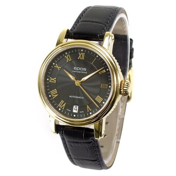 epos Watch Emotion 新着 エポス メンズ 腕時計 4390GPRBK ゴールド シースルー 革ベルト 自動巻き ETA2892-A2 ブラック系 海外並行輸入正規品