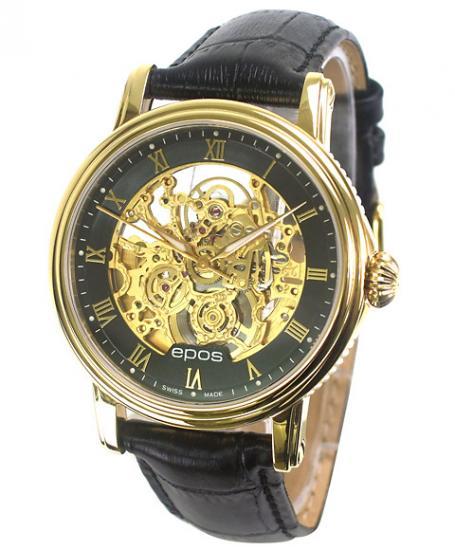 海外取寄せ(納期約3~4ヵ月後) エポス メンズ 腕時計 3390SKGPRBK epos 革ベルト 自動巻き ETA 2892-A2 シースルー 自動巻 ゴールド