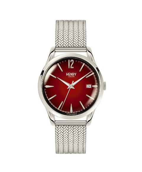 ヘンリーロンドン チャンスリー HL39-M-0097 腕時計 メンズ レディース ユニセックス HENRY LONDON CHANCERY クロノグラフ メタルブレス レッド系