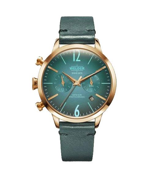 ウェルダー ムーディ WWRC105 腕時計 レディース ユニセックス WELDER MOODY DUAL TIME 38MM ゴールド レザーストラップ ブルー系