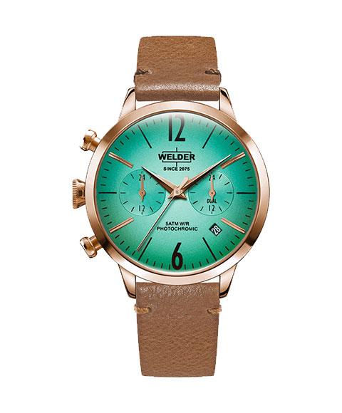 ウェルダー ムーディ WWRC112 腕時計 レディース ユニセックス WELDER MOODY DUAL TIME 38MM ゴールド レザーストラップ ブラウン系